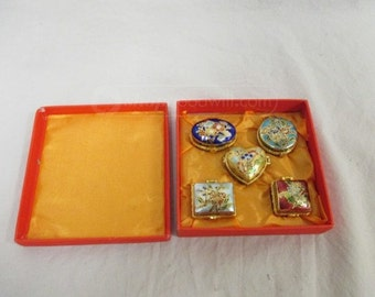 Mini Enamel Trinket Boxes; Set of Five