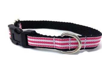 Extra Small dog collar,  preppy stripe dog collar, Puppy collar, Chihuahua dog collar, tiny dog collar, girl dog collar, puppy princess