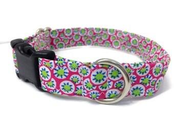 Cute Girl dog collar, Small dog collar, Dog collar, geometric dog collar, female dog collar, pink dog collar,  lime green dog collar