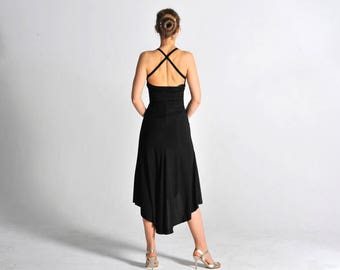 LUCERO black Tango dress with slit - sizes XS/S/M
