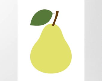 LARGE Printable Pear Poster, Digital Downloads 8 Sizes up to A1 & 22 x 34, Giant Nursery Wall Art, Scandi Style Print, Modern, Contemporary
