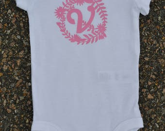 INITIAL in floral circle- infant onesie