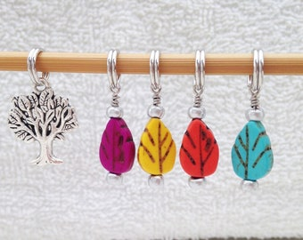 Autumn Leaves Stitch Markers - Set of 5
