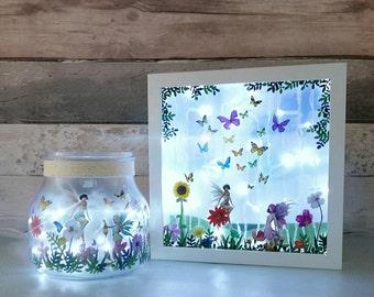 Fairy Jar night light, mum and daughter gifts, faerie lightbox, Mother's day presents, magical decor lighting, kids room lamp, nursery light