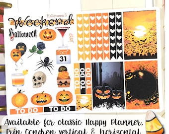 Halloween sampler stickers - for Erin Condren Vertical Planners -  October pumpkin weekend banner full boxes