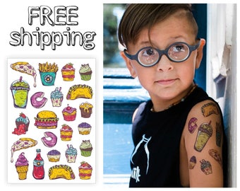 "Temporary tattoos set ""Fastfood"": smoothie, pizza, cupcake, french fries, taco, donut, burger, coke, ice cream kids tatts. Party bag. TA035"