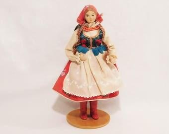 Vintage Scandinavian Wood Doll, Wood Swedish Lady Figurine, Folk Dolls
