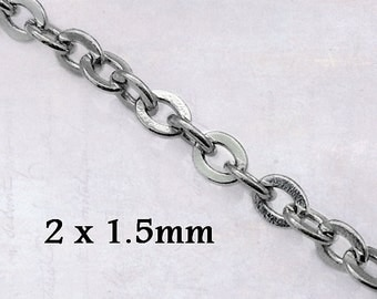 5m x Extra Fine Stainless Steel Flat Link Cable Chain 2mm x 1.5mm x 0.4mm Soldered Links