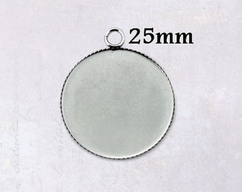 10 x Round Stainless Steel 25mm Bottle Cap Cabochon Pendant Settings