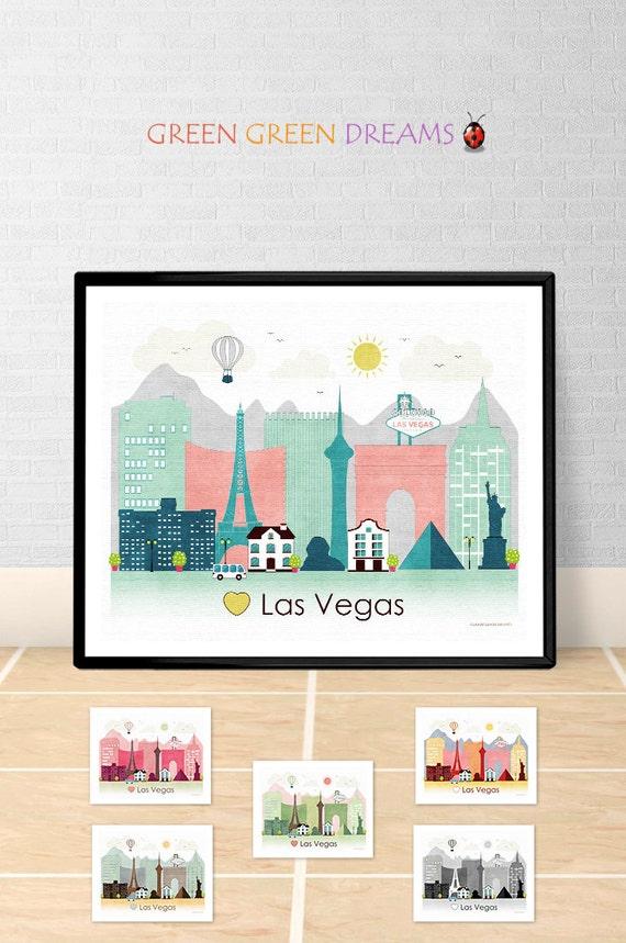 Las Vegas Poster print Wall art Las Vegas Nevada Las Vegas