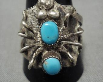Interesting Huge 'Silver Bug' Vintage Navajo Ring Old