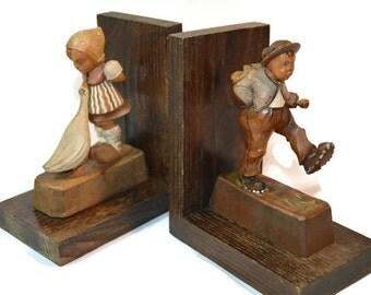 Wooden Bookends, Hummel, Wood, Bookends, Shelf Decor, Rustic