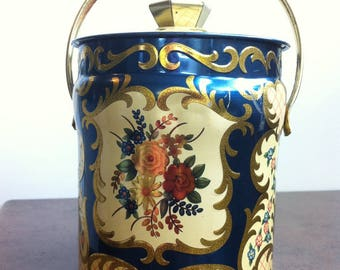 Vintage Handled Tin - English Candy Canister - Kashmir Design by Murray Allen - Blue and Gold Flower Decorated