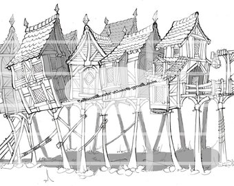 Houses on Stilts - Digital Print