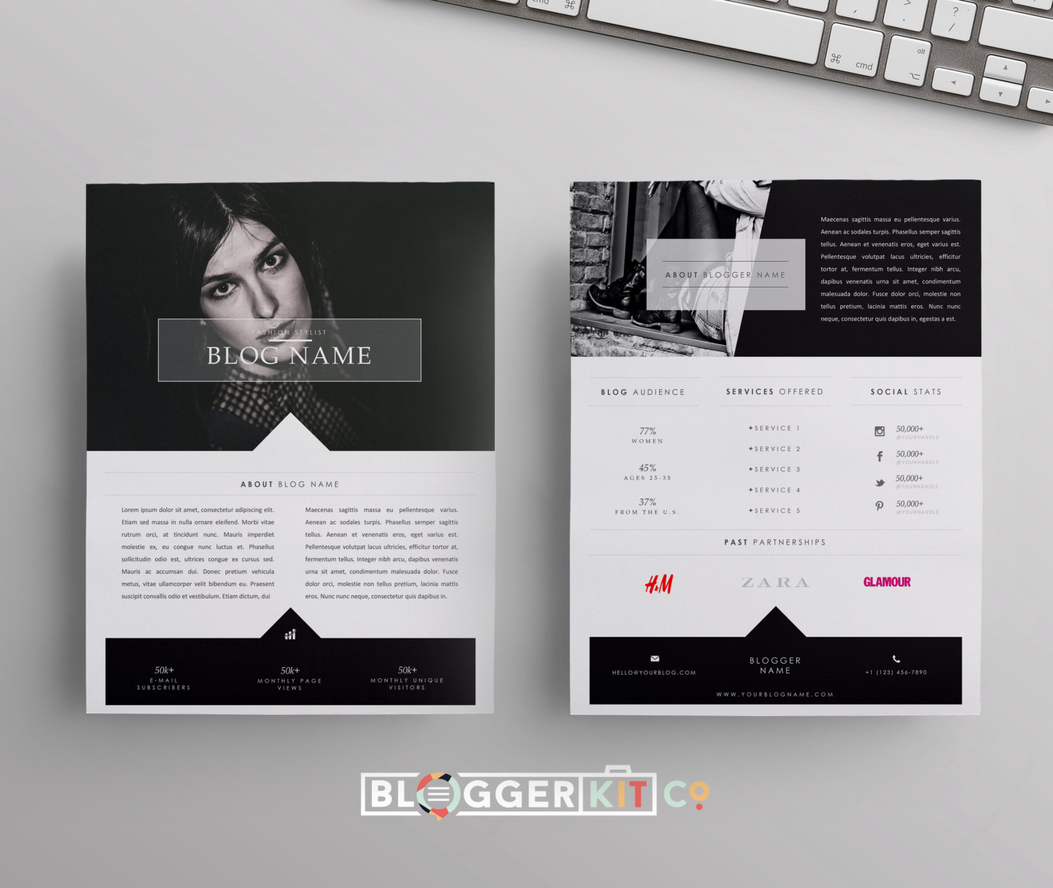 Two page media kit template press kit template electronic for Band epk template