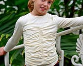 Ivory white long sleve ribbed top for girls/ Kids crepe top blouse/ Toddler girl ruched top/ Toddlers drape top/ Gathered top/ Shirred top
