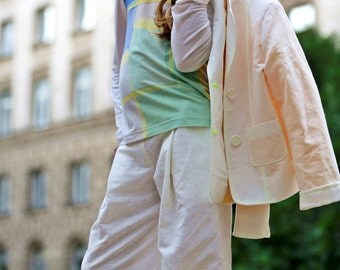Girls white linen suit for cute summer outfits/ Kids wedding linen clothes/ White summer suit/ Summer clothes/ White suit wedding outfits