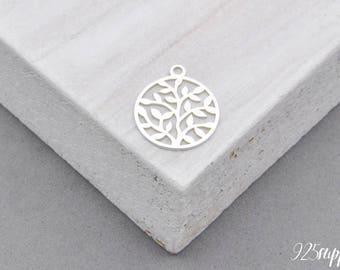 925 Sterling Silver leaf Pendant, Silver leaf, leaf Pendant, leaf, charm, 925 Silver Charm, round leaves pendant, round charm