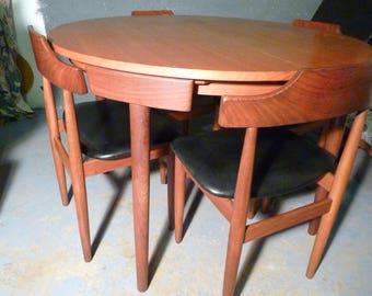 DANISH Vintage FREM ROJLE Dining Table and Chairs Hans Olsen 1960s Teak