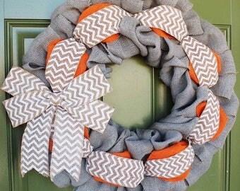 Gray Burlap Wreath, Gray Wreath, Fall Wreath, Summer Burlap Wreath, Everyday Wreath, Baby Shower Wreath, Yellow Wreath, Chevron Wreath