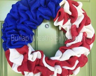 Patriotic Wreath, Memorial Day Wreath, Fourth Of July Wreath, 4th of July Wreath, Red White Blue Wreath, Summer Wreath, American Flag