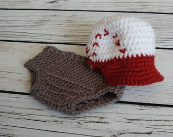 Newborn baseball set, crochet ball cap, baseball photo prop, baby ball cap, baby baseball, newborn baseball hat, baseball set,