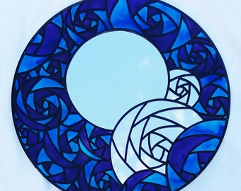 Charles Rennie Mackintosh Rose Mirror ~ a hand painted and leaded - stained glass effect - decorative (50cm diameter) mirror