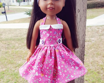 14.5 inch doll clothes Pink Halter Dress
