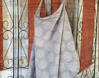 Handmade nursing cover made from Indian Block Printed fabric
