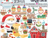 80%OFF - Christmas Clipart, Christmas Graphics, COMMERCIAL USE, Santa's Workshop, Christmas Party, Planner Accessories, Winter