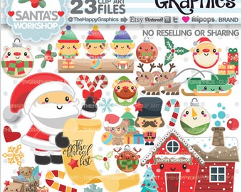 Christmas Clipart, 80%OFF, Christmas Graphics, COMMERCIAL USE, Santa's Workshop, Christmas Party, Planner Accessories, Winter