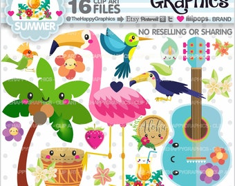 Summer Clipart, 80%OFF, Summer Graphic, COMMERCIAL USE, Flamingo Clipart, Tropical Summer Graphics, Hawaii Graphics, Aloha Graphics