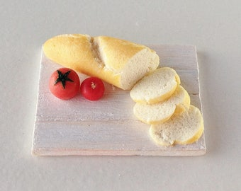 Dollhouse Miniature Bread and Tomatoes (1:12 Scale)