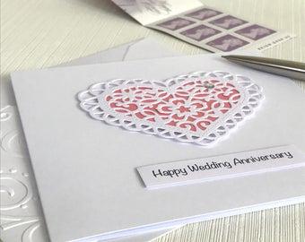 Wedding Anniversary Card - Wedding Anniversary - Anniversary Card - Handmade Greeting Card - 3D Heart -  Paper Lace Heart