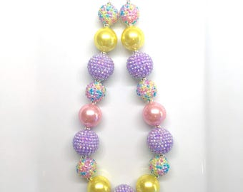 Purple Yellow Pink Easter Spring Birthday Chunky Bubblegum Beaded Toddler Girls Necklace