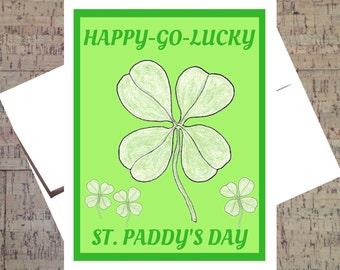 St Patricks Day Card, Lucky Card, Four Leaf Clover, St Patricks Day, St Paddys Day, St Pattys Day, St Pats Day, Funny St Patricks Day