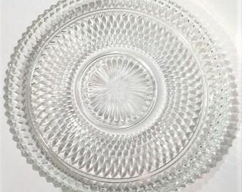 Diamond Point Cake Plate, Diamond Torte Plate,  Serving Platter, Appetizer Tray