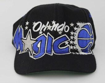 Vintage 90s ORLANDO MAGIC NBA Basketball Snap Back Hat - Rare 1990s Orlando Magic All Over Print Hat