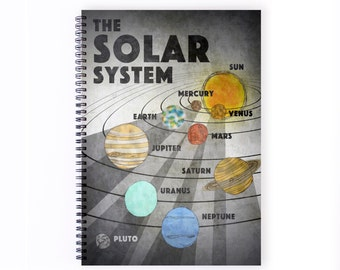 Notebook Personalise - Solar System, Science, Recycled Paper, Drawing, Sketching, Lined Paper,  Solar System, Blank Paper, Notebook