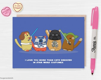 Star Wars Valentines Card, Cat Valentine, Funny Cat Lady Valentine Card, Cats in Clothes, Cute Star Wars Fan Art Valentine Card, Funny Cat