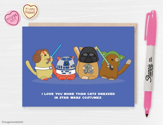 Star Wars Cats Valentine's Day Card