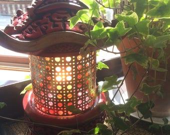 Vintage 1959  Chalkware Mid Century Modern Pagoda Lamp