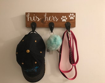 Key Hook Dog Leash Hook His and Hers Hook Leash Holder  Wood Sign  Housewarming Gift  Hat Hook