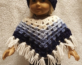 Dark Navy Blue, Light Blues and White, Poncho and Hat Set