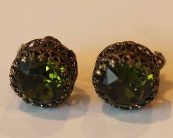 Old vintage Austria Austrian facet cut green crystal clip on earrings