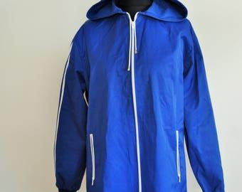 Vintage Raincoat / Rain coat / Run / Windbreaker / Outwear / Mens Medium / M / Womens Large / Activewear / Jacket / Blue