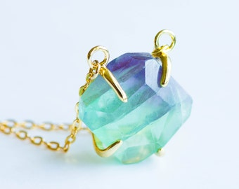 Fluorite Point Necklace ,Fluorite Necklace,Rainbow Fluorite Point Necklace,Natural Stone Pendant, Natural Fluorite,Raw Stone Crystal,BOHO