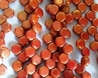 Hodge Podge Honeycomb Orange Luster, Hex 2-Hole Beads Czech Glass 6mm, 699994-14495 30 beads