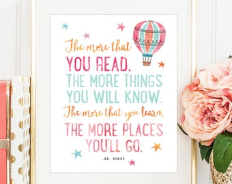 The More You Read the More Things You Will Know, Dr. Seuss Quote, Printable Dr. Seuss, Coral and Mint Decor, Children's Room Print, Kids Art