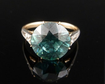 Edwardian 4.50ct Blue Zircon and Diamond Ring 18ct Gold
